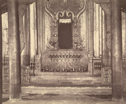 The King's Throne, placed at the back of the Hall of Audience, [Mandalay]